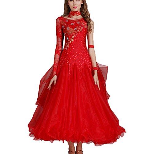 (Walzer Tanz Rock für Frauen Performance Kostüme National Standard Tanzkleid Klöppel Hüllen Ballroom Dance Kleidung Wettbewerb Kampf Kleider, XXL)