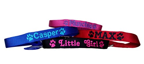 Personalised Strong Nylon Dog Collars Pink Blue Red Black FREE Embroidered Personalisation. ID Collar. (20 Inch (L)) 7
