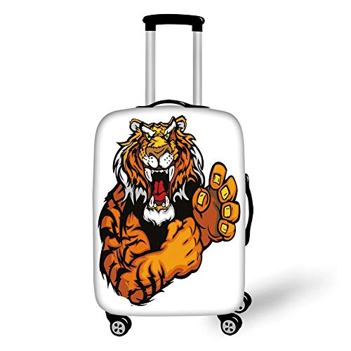 Travel Luggage Cover Suitcase Protector,Tiger,Cartoon Styled Very Angry Muscular Large Cat Fighting Mascot Animal Growling Print Decorative,Black Orange,for Travel,S - Fighting Tigers Cover