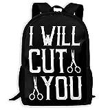I Will Cut You Barber, Friseur Mode Reise Rucksäcke Cool Rucksäcke Laptop Rucksack Schultertasche...