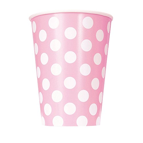 Unique Party - 37976 - Paquet de 6 Gobelets - Carton à Pois - 355 ml - Rose Pastel