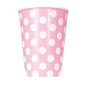 Unique Party Paquete de 6 Vasos de Papel a Lunares, Color Rosa Claro, (37976)