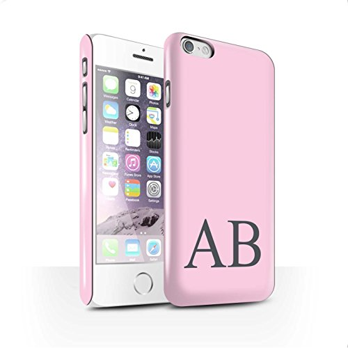 Personalisiert Pastell Monogramm Glanz Hülle für Apple iPhone 6 / Grünes Design / Initiale/Name/Text Snap-On Schutzhülle/Case/Etui Rosa