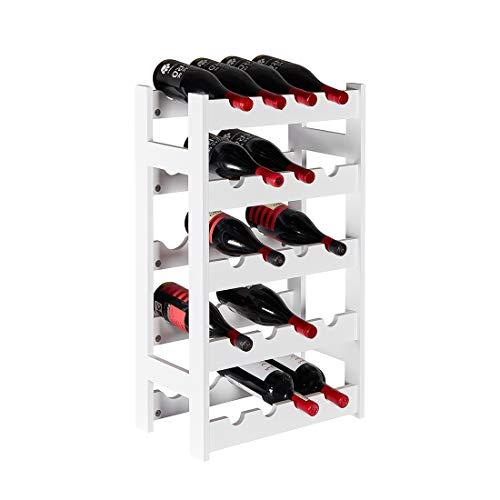 Sunon Flaschenregal Weinregale Holz 43.5x25x72.5 cm Flaschenablage mit 5 Fächern für 20 Flaschen, Weiß