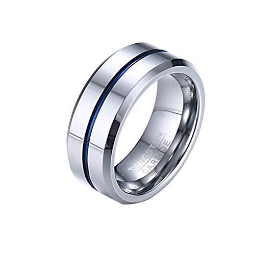 HFJ&YIE&H 8 MM Hochzeitsring Hochglanzpoliert Center/Mattes Finish Herren Wolframcarbid Ring Hochzeitsband Komfort Fit Größe 7-12,B,7 (Silber Mens Ring Größe Sterling 9)