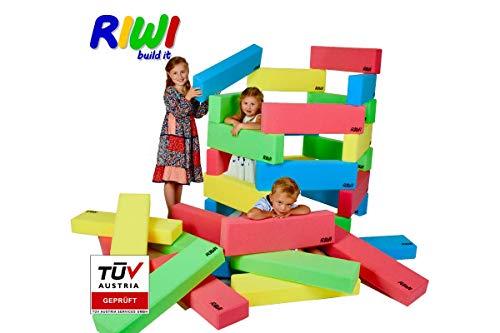 *RIWI 12er Bausteinset | XXL Schaumstoff Bausteine | große weiche Bauklötze | Waschmaschinenfest | TÜV Austria Zertifiziert*