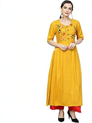 AnjuShree Choice Women Stitched Embroidered Yellow A-Line Rayon Kurti Kurta