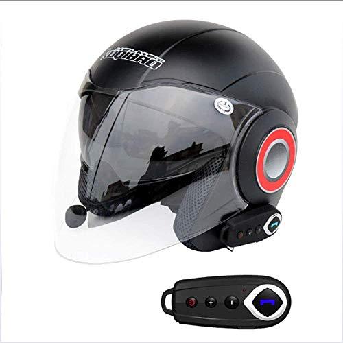 Casco Moto Half Open Face Bluetooth + FM Casco da Turismo City Touring Auricolare Bluetooth Dual-Speaker Integrato con Microfono per Risposta Automat