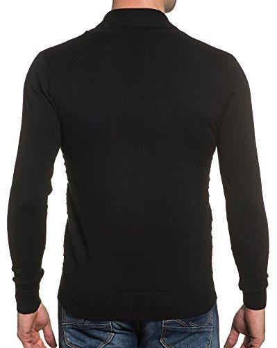 BLZ jeans - Schwarzer Pullover stilvolle Kragen Frosch Buttons Schwarz