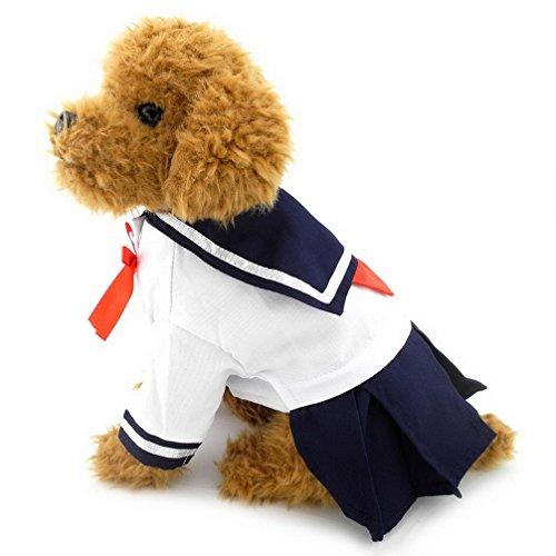 ranphy/Kleine Hunde Katze Haustier Kleidung für Mädchen Marineblau Captain Sailor Kostüm Hund Kleider Frischer Stil Student Uniform