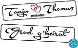 A-Z Store Original KFZ-Kennzeichen Hochzeit Autoschilder Hochzeitsschilder Hochzeitsschild Namensschilder Grod g'heirat mit Datum und Namen 0201-0005