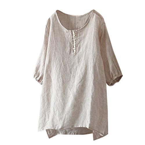 FOTBIMK Damenmode Casual Kurzarm Oansatz Solide Kurze Tops T-Shirt Bluse(Khaki,Large)