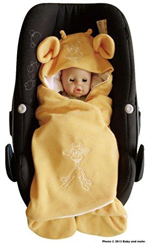 ByBoom - Baby Einschlagdecke Sommer; außen Fleece, innen 100% Baumwolle; Für Babyschale, Autokindersitz, z.B. für Maxi-Cosi, Römer, für Kinderwagen, Buggy, Babytrage, z.B. Manduca oder Babybett, Farbe:Apricot - Giraffe