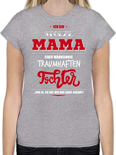 Muttertag - Ich Bin stolze Mama Einer wahnsinnig traumhaften Tochter - L - Grau meliert - L191 - Tailliertes Tshirt für Damen und Frauen T-Shirt