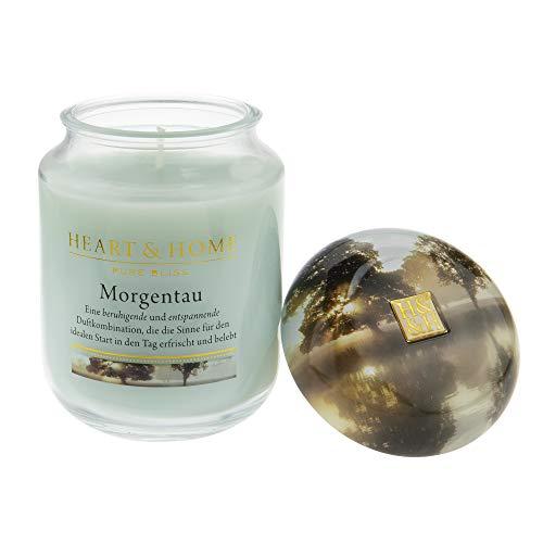 Heart & Home Duftkerze Morgentau, frischer Duft nach Bergamotte, Sandelholz & Geranien, Sojawachs-Kerze im Glas, brennt bis zu 30 h, vegan, 115 g -