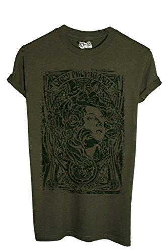 T-Shirt OBEY PROPAGANDA MAKE ART NOT WAR - POLITICA by MUSH Dress Your Style - Uomo-L-VERDE MILITARE