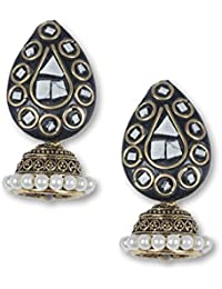 Anetra Chand Bali Earrings for Women (Black)(ads_017)