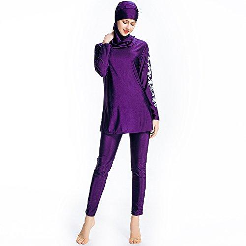 Mr Lin123 Bañador musulmán islámico para mujer, bañador de cobertura completa, bañador musulmán, playa, traje de baño burkini, Purple-floral, 6XL
