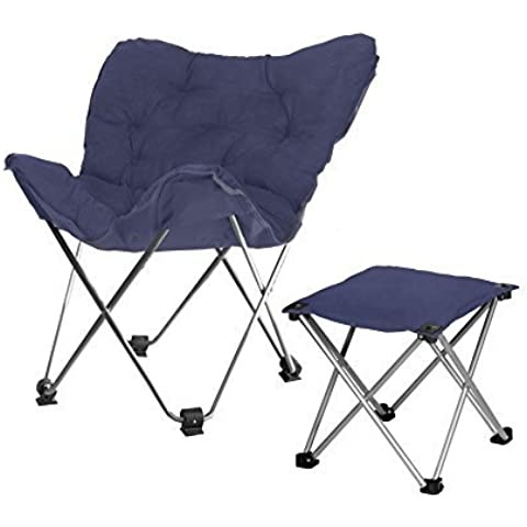 Rock Your Room Butterfly Chair with Footrest, Navy by Rock Your Room