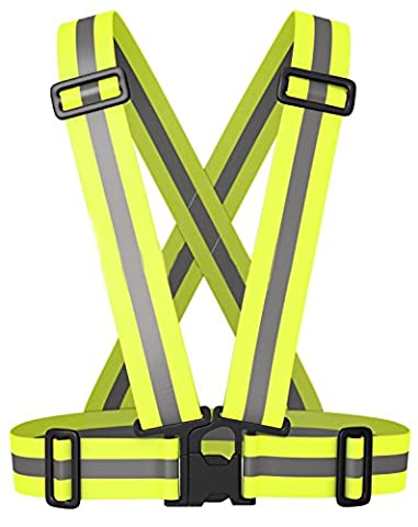 Reflective Running Vest, Elastic, Lightweight, Adjustable and High Visibility Great