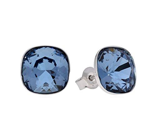 Crystals & Stones *VIELE FARBEN* Silber 925 *SQUARE* - Ohrstecker mit Kristallen von Swarovski® - Schön Ohrringe Damen Ohrstecker - Wunderbare Ohrringe mit Schmuckbox (Denim Blue) -