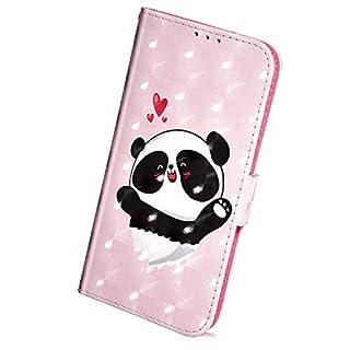 Herbests Kompatibel mit Samsung Galaxy A7 2018 Handyhülle Hülle Glitzer Glänzend Bling Bunt Motiv Muster Schutzhülle Bookstyle Klappbar Brieftasche Hülle Kartenfach Standfunktion,Cute Panda