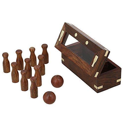 ShalinIndia hölzernes Spiel bowling-Set für Kinder 2 Kugeln und 10 Pins handgemachte Weihnachtsgeschenke (Inlay-satz)