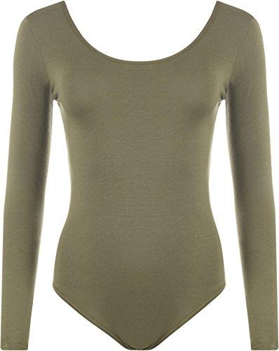 WearAll - Damen Body elastisch Langarm Bodysuit Top - Khaki - ()