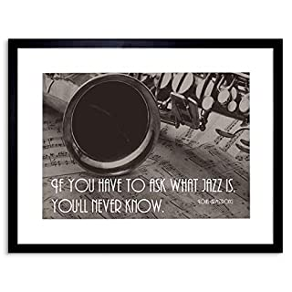 Wee Blue Coo Music Quote Louis Armstrong Ask Jazz Never Know Framed Wall Art Print