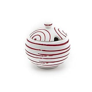 Gmundner Keramik Manufaktur 0182DAGL09 rotgeflammt Zuckerdose mit Ausschnitt, Durchmesser 10 cm