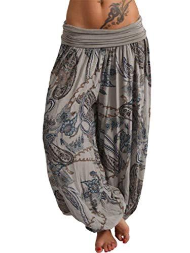 Tomwell Damen Haremshose Elegant Pumphose Lange Leinen Hose mit Gürtel Aladin Pants A Grau Large - Seide Pumphose