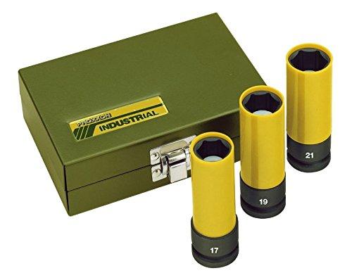 felgen 19 Proxxon Steckschlüsselsatz Impact, 3-teilig, stabile Steckschlüsselaufsätze zum Gebrauch mit Druckluftschraubern, maximales Drehmoment von 500 Nm, 1/2 Zoll Antrieb, mit Kunststoffhülle, Art.-Nr. 23938