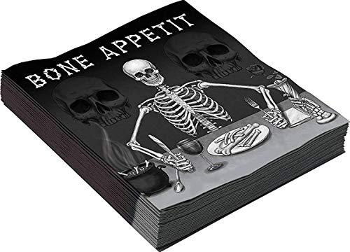 Halloween Horror Kostüm Partyartikel Knochen Appetit groß Tisch Serviette Packung mit 16