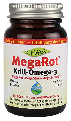 Dr. Hittich Mega-Rot Krill-Omega-3 - 30 Kapseln - Krillöl der neuen Generation für eine optimale Herzgesundheit - Hochdosierte Omega-3 Fettsäuren