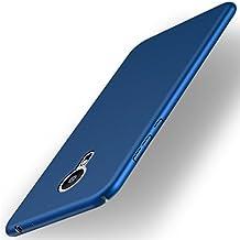 Funda Meizu Pro 5, Caso con [Protector de Pantalla de Cristal Templado] [Ultra-Delgado] [Ligera] Anti-Rasguño y Huellas Dactilares Totalmente Protectora Estuche de Plástico Duro - Azul