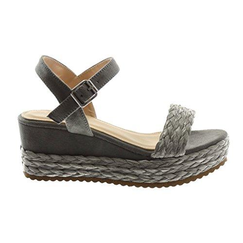 35f6389312a8ee ... Angkorly Chaussures Mode Mules Sandales Avec Bride À La Cheville  Bi-matière Femme Avec Paille ...