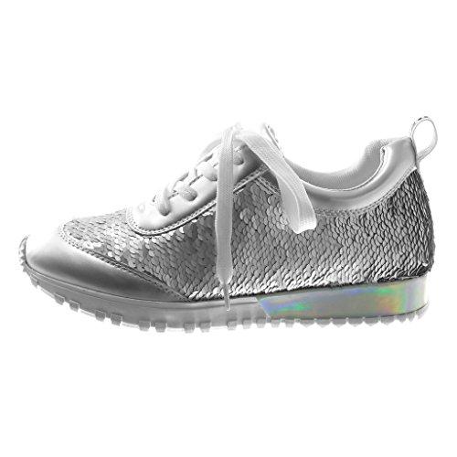 Angkorly Scarpe Moda Sneaker Suola di Sneaker Metallico Sporty Chic Donna Paillettes reversibili Lucide Tacco Tacco Piatto 2.5 cm Argento