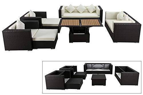 OUTFLEXX Exklusives XL Lounge-Set aus hochwertigem Polyrattan in braun, 3-Sitzersofa, 2-Sitzer, 2...