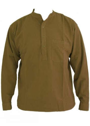 vert kaki papy col chemise en coton taille petite à 2XL vert kaki