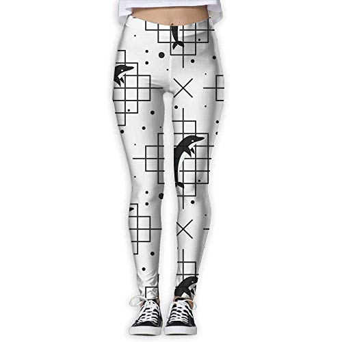 Miedhki Yoga-Hose mit Delfin-Motiv, hohe Taille, Außentasche, Bauchkontrolle, Workout, Laufen, Stretch, Yoga Leggings Gr. L, multi