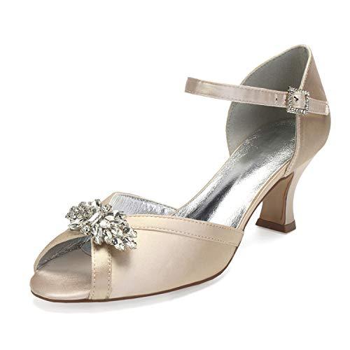 AIMISHOES Dame Satin Abendkleid Schuhe offene Spitze knöchelriemen Braut Hochzeit Prom Party Heels kristall brosche,Champagner,41