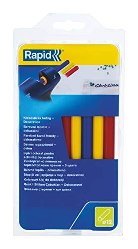 Rapid, 5000627, Bâtons de colle thermofusible, Décoration, Jaune, Rouge, Bleu, ø12mm