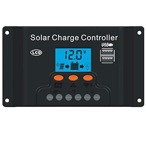 TianranRT Solar Panel Regler Ladung Controller USB 10/20/30/40A 12V-24V mit Dual USB (40A 12V24V) -