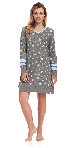 dn-nightwear Damen Nachthemd IDA / langarm / Dunkelgrau