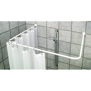 Barra angular universal de aluminio para cortina de ducha, con 3x apoyos de techo, color blanco