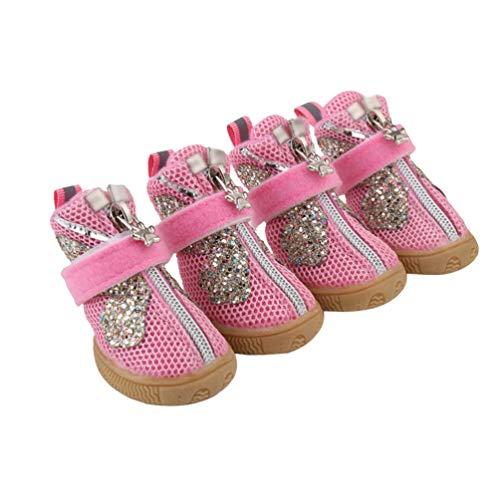 Kuncg La Pata Protege Botas De Perro Brillante Suave Respirable Protectora Y Malla De Primavera Verano Al Aire Libre Zapatos para Perros Rosa 3