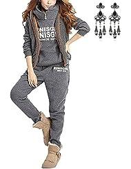 MODETREND Mujer 3pcs Chándal Encapuchada Casual Conjuntos Deportivos Otoño Invierno Sudadera con capucha Sweatshirt + Hoodie Chaqueta Chaleco + Pantalones