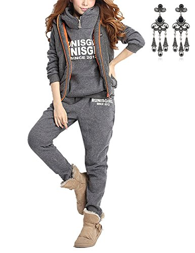 Modetrend donna 3 pezzi felpa tute pullover spesse felpa cappotto invernale tuta training ispessisce hoodie giacca gilet + felpa con cappuccio + pantaloni (s, grigio 2)