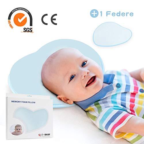 Orlegol Baby Kissen, Baby Kopfkissen gegen Kopfverformung und Plattkopf, Orthopädisches Babykissen, Memory-Schaum mit Mulde Kissen, Wechselbare Kissenbezüge, Kopfkissen für Babys und Neugeborene -Blau