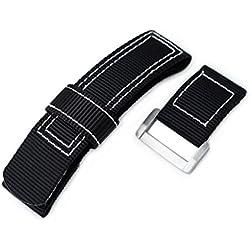 24mm MiLTAT Black Nylon Velcro Fastener Watch Strap, White Stitching, Brushed Buckle
